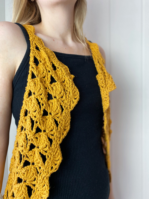 Fantail Vest Crochet Pattern by ReVe Design Co - Mustard cotton - modeled - from front