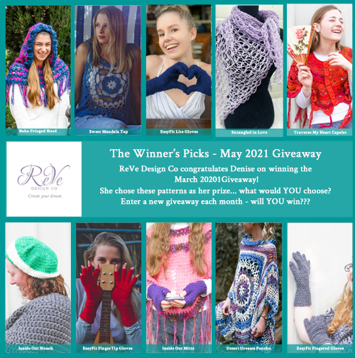 Winners Picks - Denise - March 2021 Giveaway - 10 patterns from ReVe Design Co