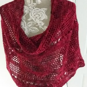 Granada Shawl - Draped around shoulders - from front - up close - available from MadeforYOUbyFi April 2021