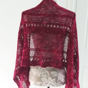 Spring in the Mountains Shawl - straight over shoulders on mannequin - from back - available from MadeforYOUbyFi April 2021