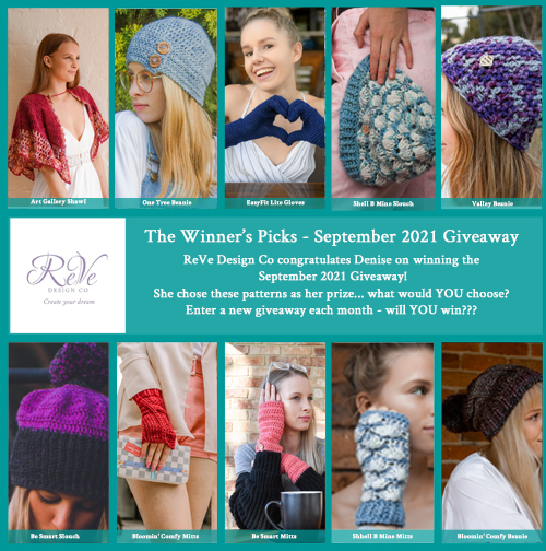 Winners Picks - Amber - September 2021 Giveaway - 10 patterns from ReVe Design Co